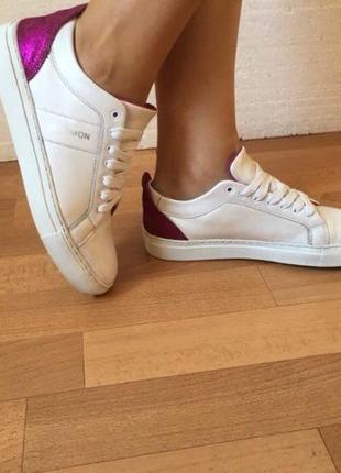 Кожаные белые кеды/ оригинальные bensimon, женские кроссовки.