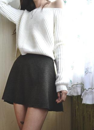 Расклешенная юбка zara winter зелёный меланж