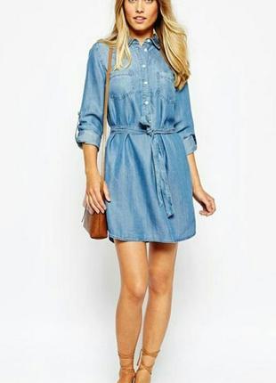 Платье-рубашка с карманами, джинсовое платье