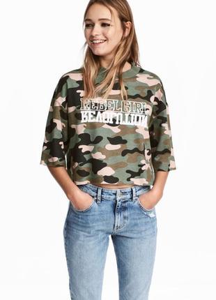 Камуфляжная футболка h&m милитари