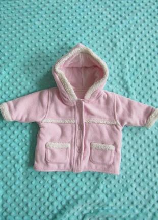 Теплая флисовая кофта-курточка 0-3 месяца