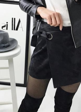 Чёрная юбка-шорты, завышенная посадка, замшевая юбка, замшевые шорты