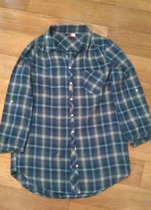 Длинная клетчатая рубашка