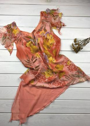 Легкая блуза, топ, майка на лето, цветы, цветочный принт из шифона