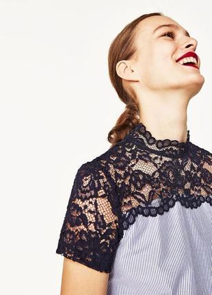 Zara блуза с кружевом м- размер