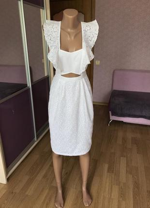 Платье сарафан хлопок рюши