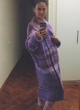 Вязаное вручную пальто оверсайз