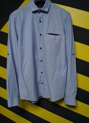 Однотонная рубашка с карманом slim fit zara