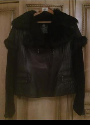 Новая кожанная куртка/полушубок (мутон)
