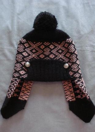 Теплая шапочка с ушками размер 50-54