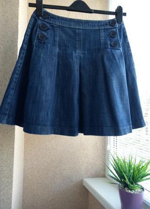 Джинсовая юбка в складочку 100% котон