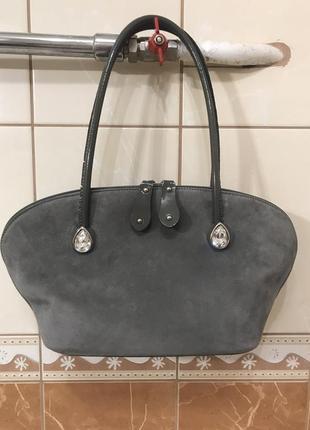Кожаная сумка сумка кожаная замшевая сумка  италия gilda  tonelli