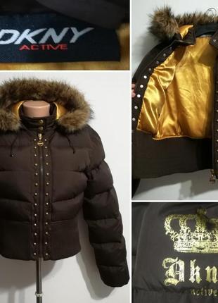 Теплая куртка бомбер, пуховик наполнение пух/перо, dkny, m-l