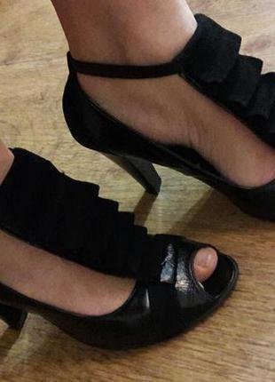 Туфли замшевые+лак