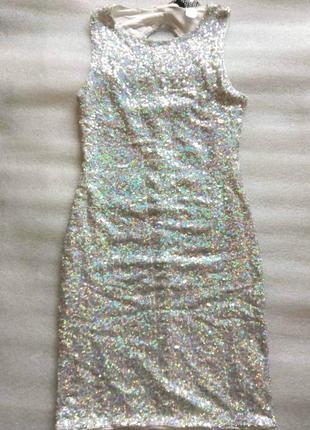 Мини платье в пайетки голографик