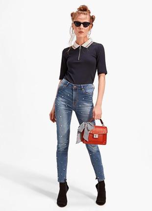 Шикарные джинсы с высокой посадкой, бусинами stradivarius 34, 40, 42 испания