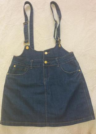 Стильная юбка - сарафан на подтяжках authentic denim