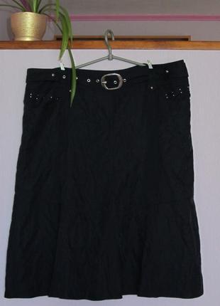 Темно-синяя юбка миди(поб65см, 54%модал).