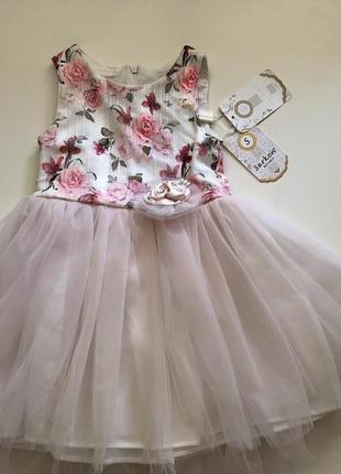 Праздничное платье с фатином для девочки 2 года