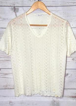 Элегантный ажурный пуловер с коротким рукавом молочно-белого цвета