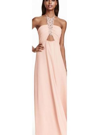 Длинное вечернее, выпускное платье h&m с декором.