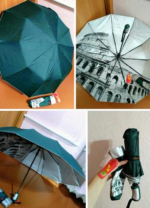 Зонт полуавтомат внутри рисунок на серебре