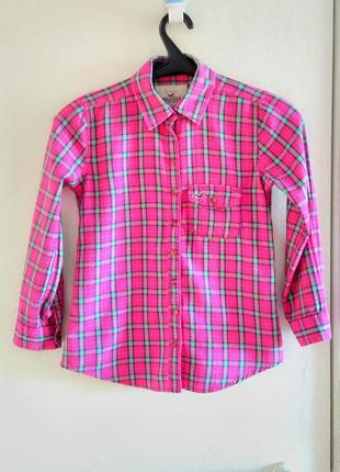 Супер комфортная хлопковая тонкая фланелевая рубашка в клетку hollister