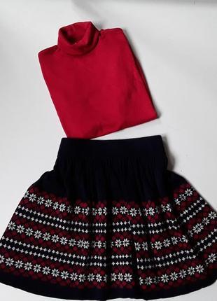 Теплая вязаная юбка с арнаментом