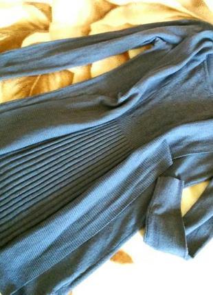 Трикотажное кашемировое вязаное платье, имитация кардиган и юбка плиссе