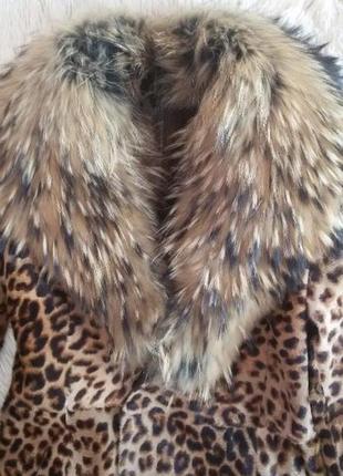 Леопардовое пальто из натуральных мехов2 фото