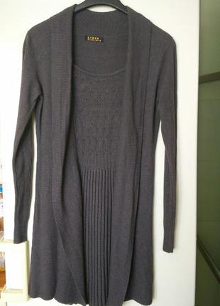 Серое графит теплое платье туника кашемир имитирует юбку плиссе и кардиган