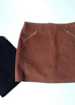 Теплая юбка с карманами  на молнии
