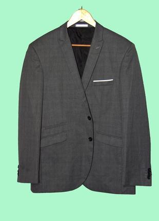 Стильный серый мужской пиджак большего размера/ англия!