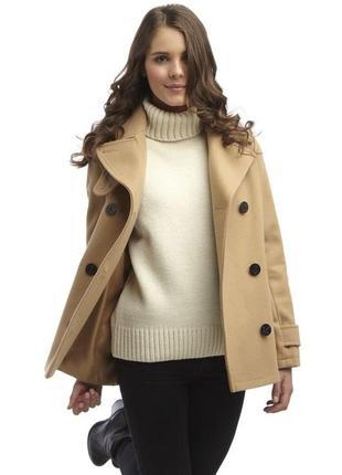Стильное двубортное пальто-дафлкот цвета camel от original mantgomery(75%шерсть)