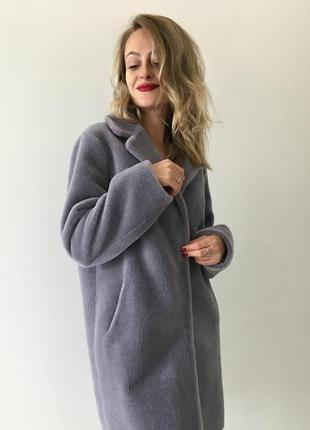 Серо-голубая овчина шуба пальто осенее зимнее л