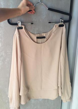 Шифоновая блуза с воланами zara
