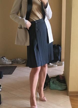 Оригинал max mara серая юбка плиссе высокая посадка миди до колена
