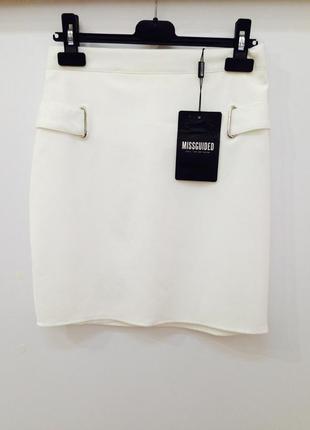 Качественная белая мини юбка высокая посадка missguided