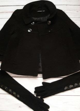 Укороченное пальто с рукавом 3/4 + перчатки