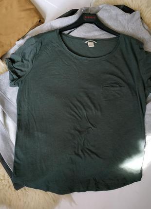 Котоновая футболка изумрудного цвета