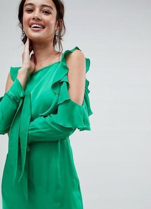 Asos розкішна зелена сукня з воланами та відкритою спинкою