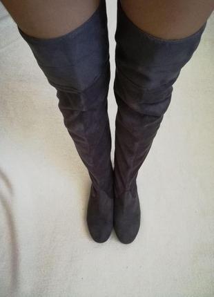 .серые замшевые ботфорты, сапоги-чулки