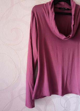 Розово-сиреневый лонгслив, футболка с длинным рукавом, топ в офис, большой размер