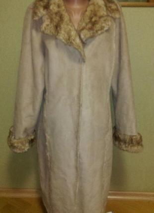 Красивое меховое пальто ,замшевая дубленка большого размера