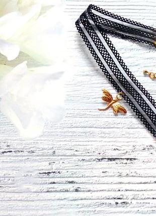Кружевной чокер - резинка с подвеской