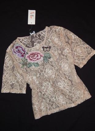 Чудесная кружевная футболка из нежного гипюра с вышивкой. размер s,m