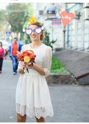 Короткое свадебное котельное платье