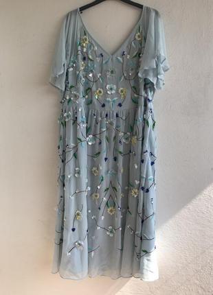 Платье миди с 3д цветами asos