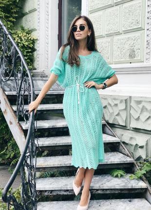 Вязаное ажурное платье ручной работы в бирюзовом цвете