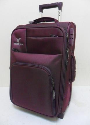 Чемодан 2-х колесный высокой надежности three birds - серо-фиолетовый.